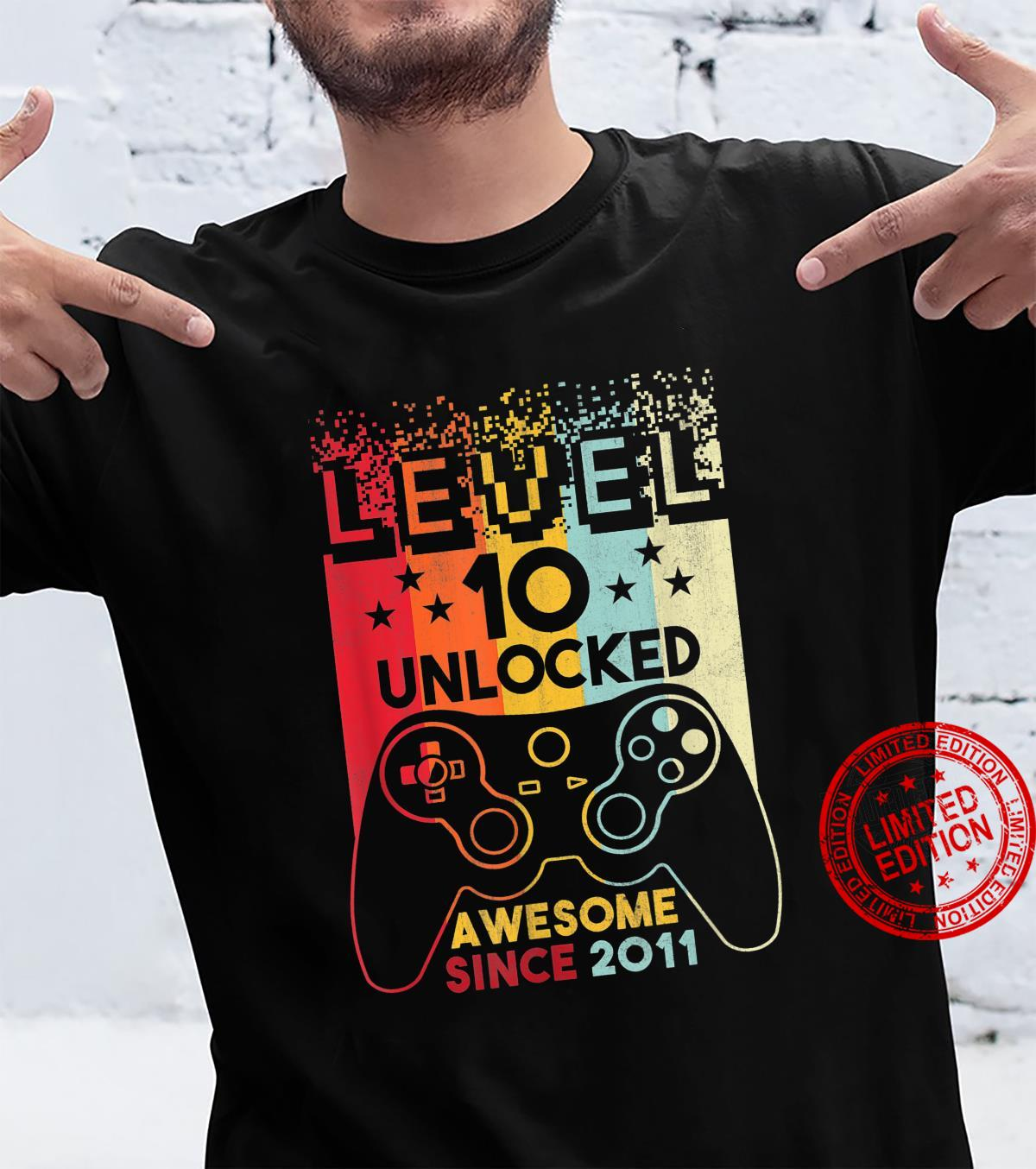 10 Years Old Boys Video Gamer Level 10 Unlocked Awesome 2011 Shirt