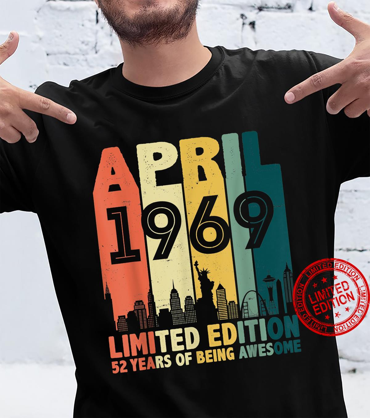 Distressed April 1969 52 Years Old 52nd Birthday Shirt