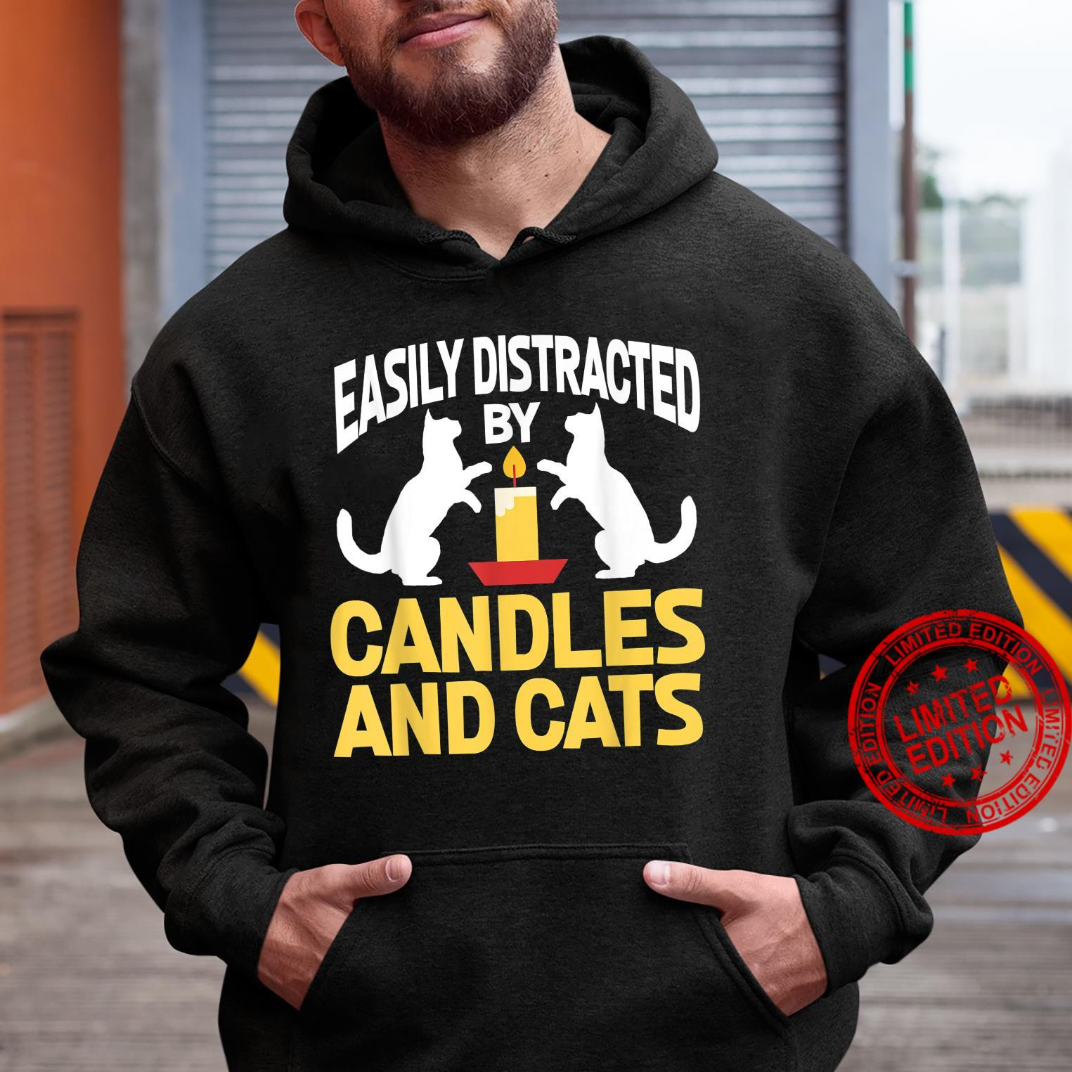 Easily Distracted By Candles And Cats Cat Shirt hoodie