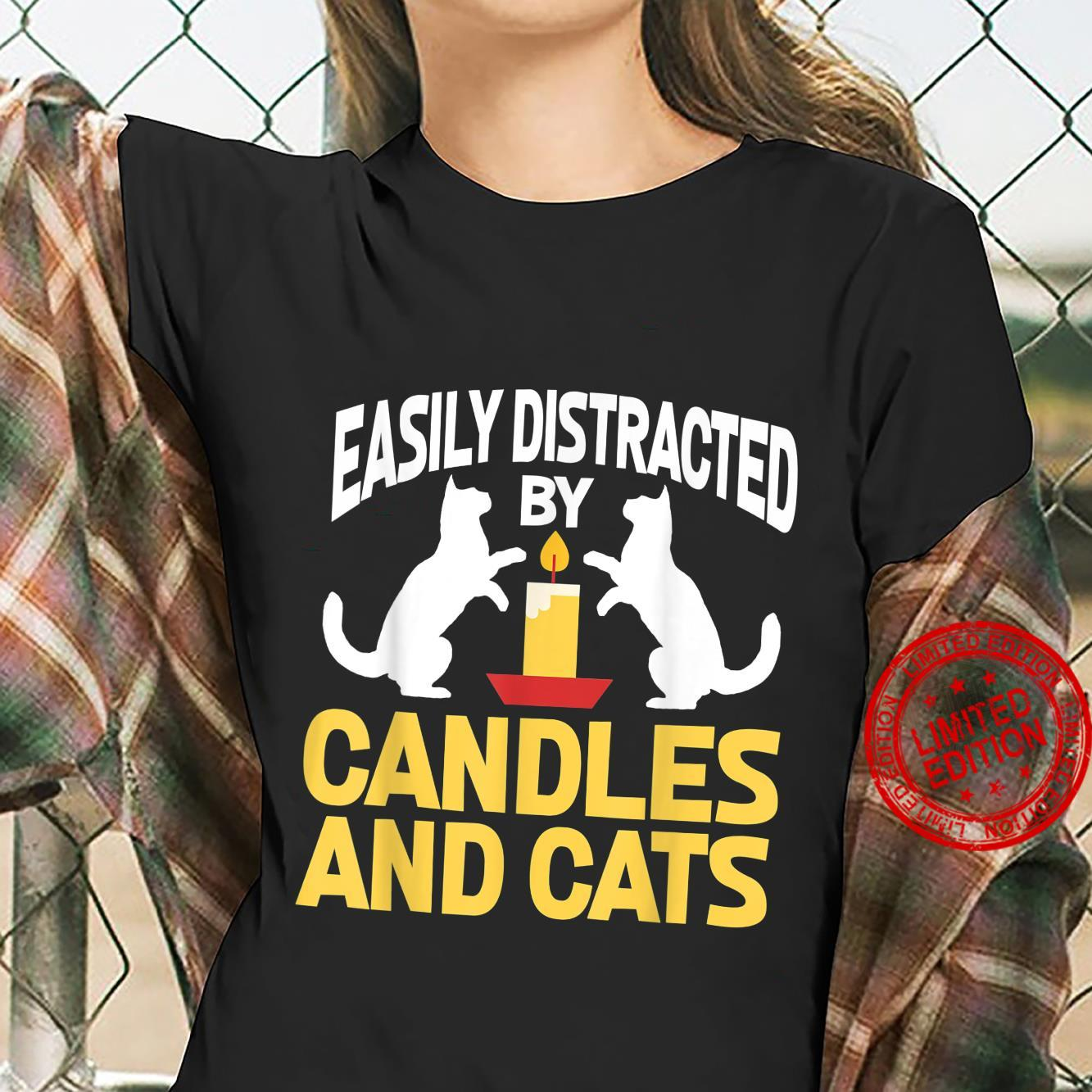 Easily Distracted By Candles And Cats Cat Shirt ladies tee