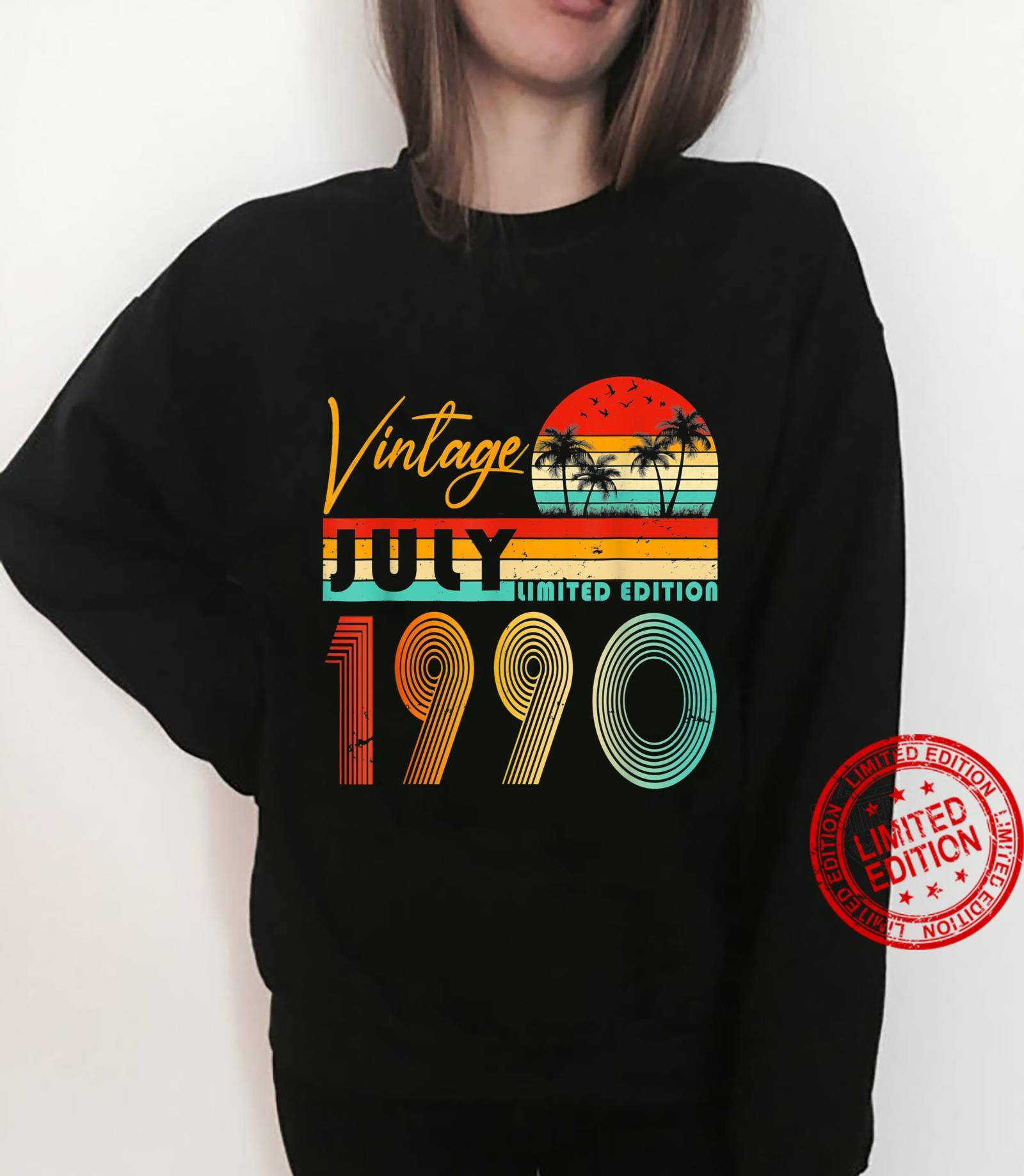 Happy 31st Birthday Vintage July 1990 Shirt 31 Years Old Shirt sweater
