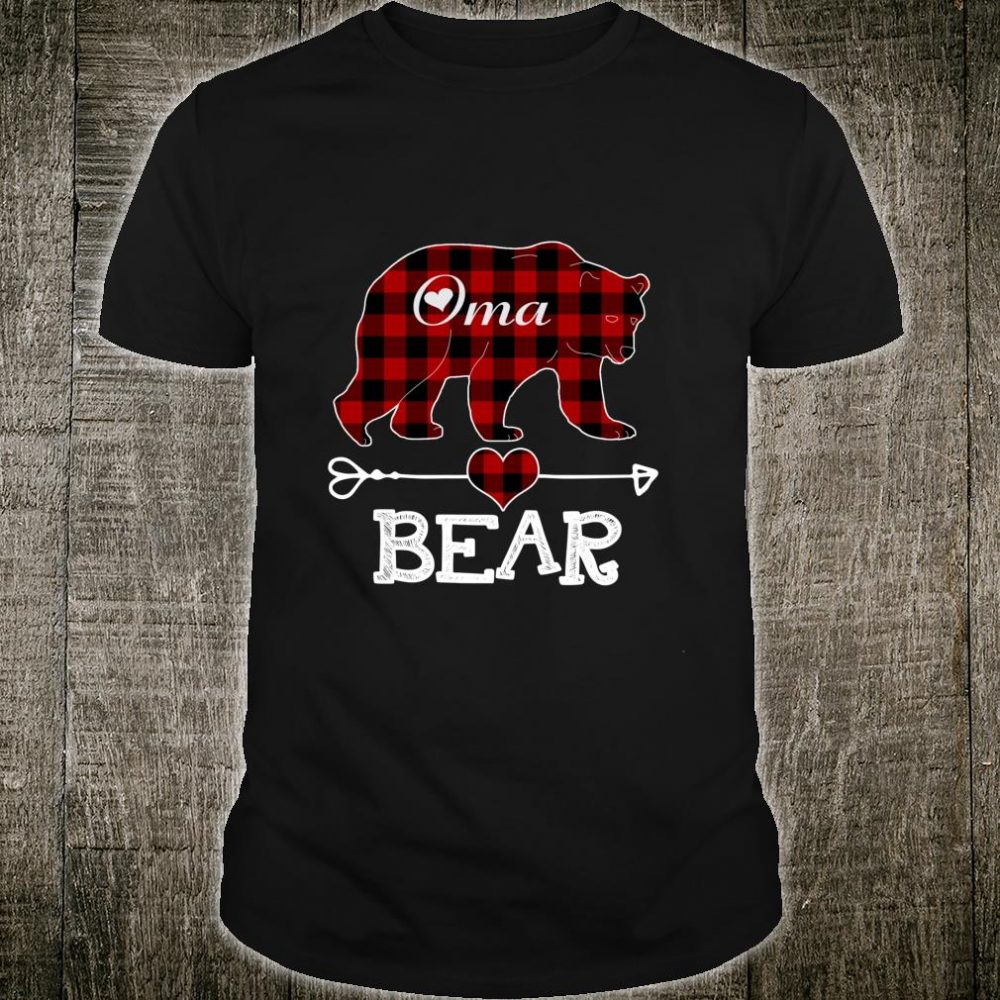 Oma Bear Christmas Pajama Red Plaid Buffalo Family Shirt