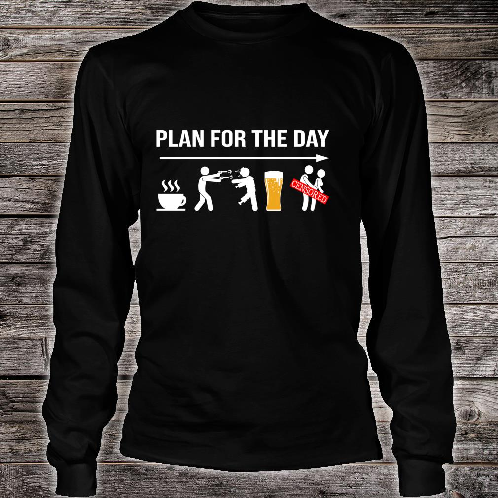 Plan for the day coffe beer censored halloween shirt long sleeved