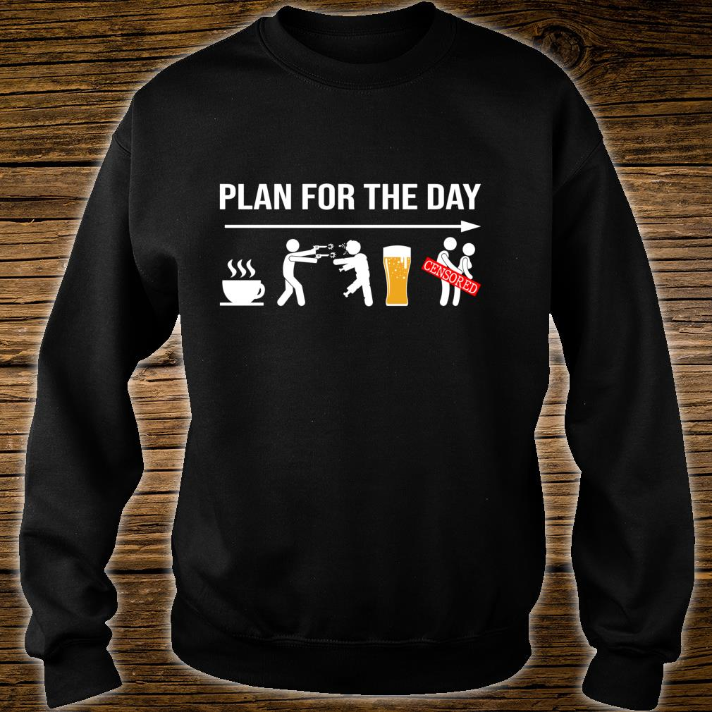 Plan for the day coffe beer censored halloween shirt sweater