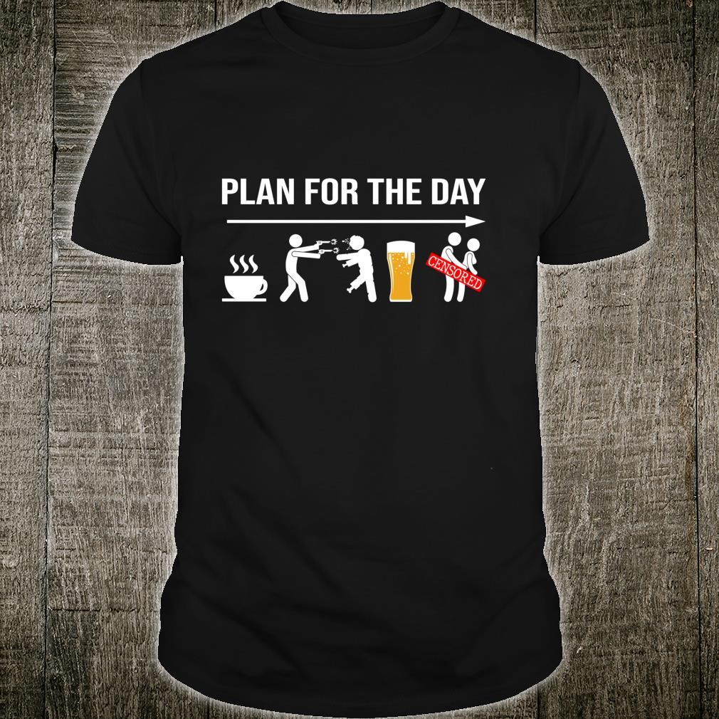 Plan for the day coffe beer censored halloween shirt