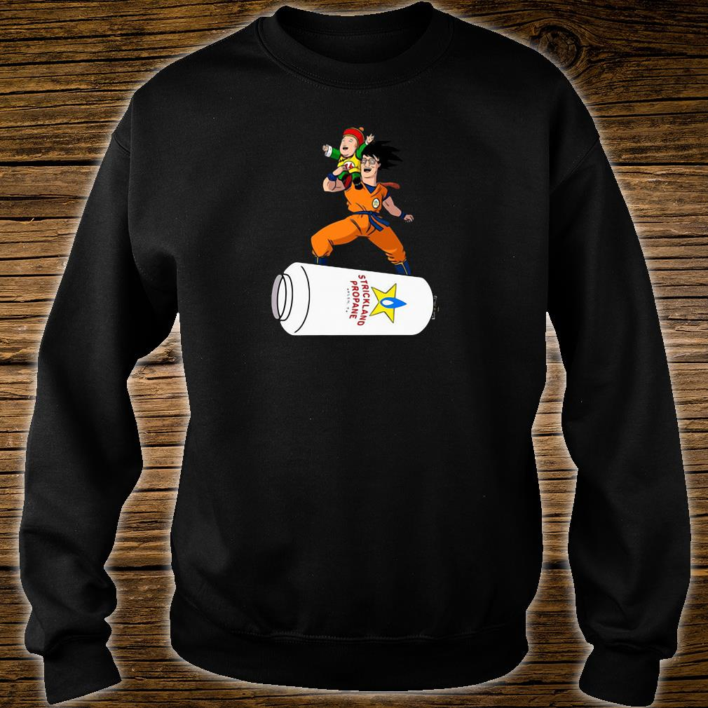 Strickland propane gas cloud Songoku hank hill bobby hill Dragon Ball King Of The Hill Crossover shirt sweater
