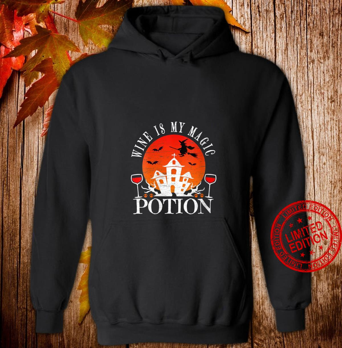 Womens Wine Is My Magic Potion Cute Halloween Witches Drinking Shirt hoodie
