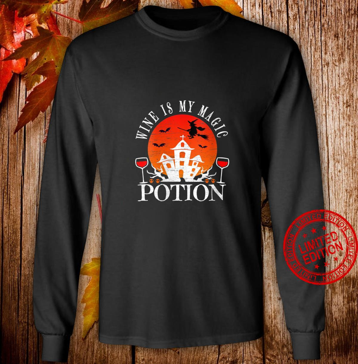 Womens Wine Is My Magic Potion Cute Halloween Witches Drinking Shirt long sleeved