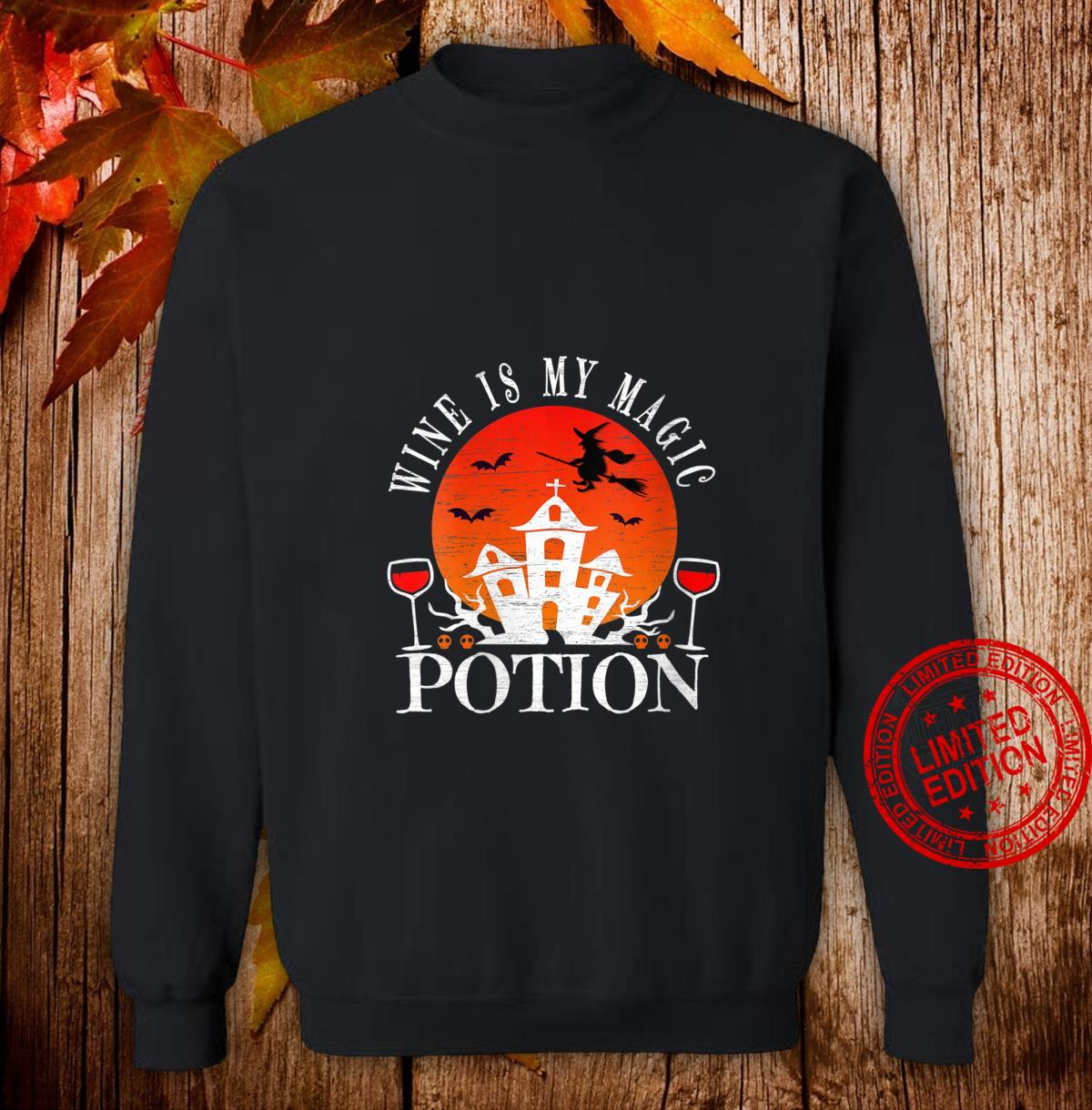 Womens Wine Is My Magic Potion Cute Halloween Witches Drinking Shirt sweater